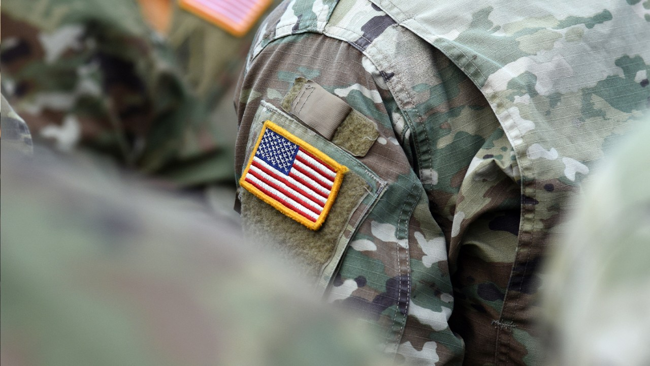 Close up of American Flag patch on a soldier's shoulder