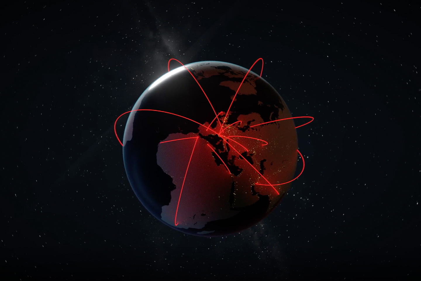 cyber attacks, represented by bright red lines crisscrossing the globe from a centralized region