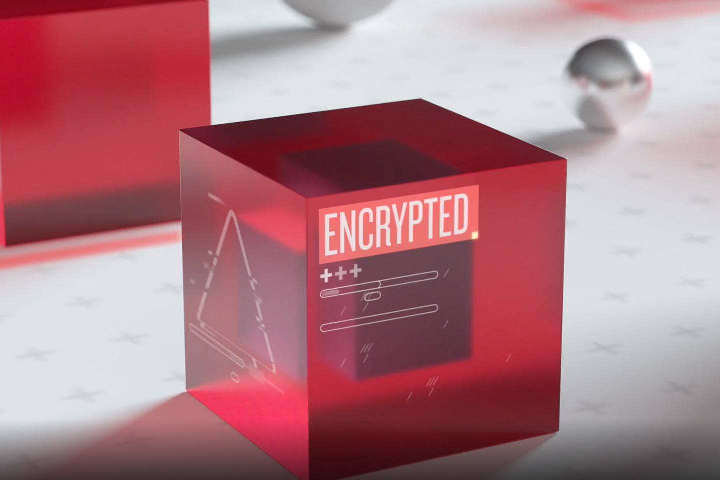 encrypted cube showing level on encryption achieved